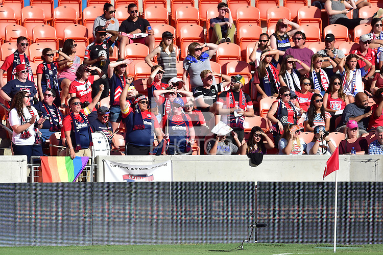 Houston, TX - Sunday Oct. 09, 2016: Washington Spirit fans during a National Women's Soccer League (NWSL) Championship match between the Washington Spirit and the Western New York Flash at BBVA Compass Stadium.