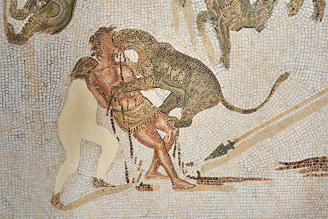 Picture of a Roman mosaics design depicting animals killing people in an ampitheatre, from the ancient Roman city of Thysdrus. End of 2nd century AD, Sollertiana Domus. El Djem Archaeological Museum, El Djem, Tunisia.