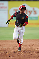 Batavia Muckdogs shortstop Marcos Rivera (8) runs the bases after hitting a game wining walk off three run home run in the bottom of the ninth inning during a game against the West Virginia Black Bears on June 25, 2017 at Dwyer Stadium in Batavia, New York.  Batavia defeated West Virginia 4-1 in nine innings of a scheduled seven inning game.  (Mike Janes/Four Seam Images)