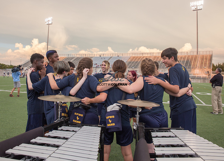 The Stony Point Tigers band prepares to take the field for the first halftime show of the 2016 football season at a high school football game between Stony Point High School and Killeen High School at Kelly Reeves Stadium in Round Rock, Texas on August 25, 2016.