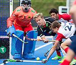 LONDON -  Unibet Eurohockey Championships 2015 in  London. Germany v France . Linus Butt (m) and German goalie Nicolas Jacobi (Gk)  (l) .   WSP Copyright  KOEN SUYK