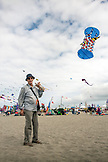 USA, Washington State, Long Beach Peninsula, International Kite Festival, French kite competitor and 3D kite builder Loik Lamalle