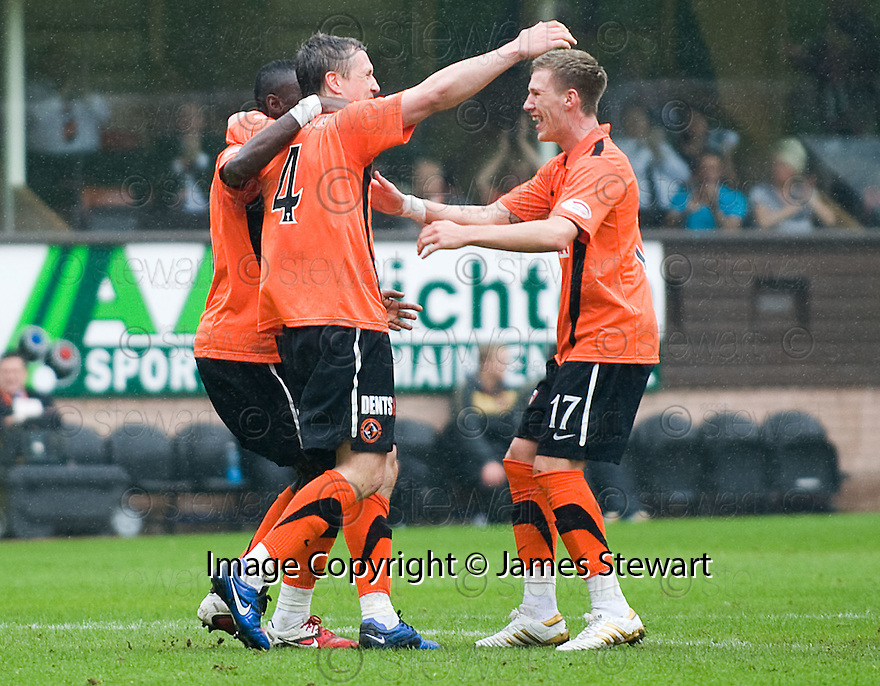 :: DUNDEE UTD'S SCOTT SEVERIN CELEBRATES AFTER HE SCORES UNITED'S FIRST :: .23/04/2011   Copyright  Pic : James Stewart.sct_jsp017_dundee_utd_v_kilmarnock .James Stewart Photography 19 Carronlea Drive, Falkirk. FK2 8DN      Vat Reg No. 607 6932 25.Telephone      : +44 (0)1324 570291 .Mobile              : +44 (0)7721 416997.E-mail  :  jim@jspa.co.uk.If you require further information then contact Jim Stewart on any of the numbers above.........