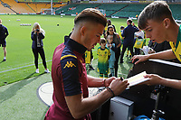 Jack Grealish of Aston Villa signs an autograph pre game.<br /> Norwich City vs Aston Villa, Premier League Football at Carrow Road on 5th October 2019
