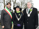 Alessio Chiavetta from Nettuno Italy, Mary Kavanagh Ardee Towm Council and Finan McCoy chairperson of Louth County Council at Ardee St Patrick's day parade. Photo:Colin Bell/pressphotos.ie