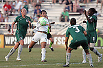 24 June 2009: Han Duan (9) of the Los Angeles Sol prepares to score the first goal of the match amidst a crowd of Athletica players Christie Welsh (left), Stephanie Logterman (3), and Tina Ellertson (8).  Saint Louis Athletica was defeated by the visiting Los Angeles Sol 1-2 in a regular season Women's Professional Soccer game at AB Soccer Park, in Fenton, MO.