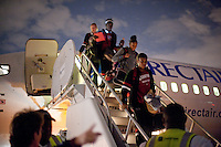 NORFOLK, VA--The Stanford Cardinal makes their way to the tarmac after a cross-country flight to Norfolk, VA for the first and second rounds of the 2012 NCAA tournament.