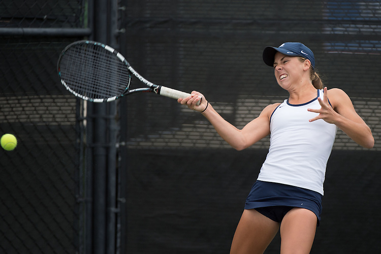 April 22, 2015; San Diego, CA, USA; San Diego Toreros tennis player Drew Spinosa during the WCC Tennis Championships at Barnes Tennis Center.