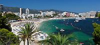 Spain, Mallorca, Magaluf: View over Magaluf beach resort | Spanien, Mallorca, Magaluf: beliebter Badeort und Strand in der Naehe von Palma de Mallorca