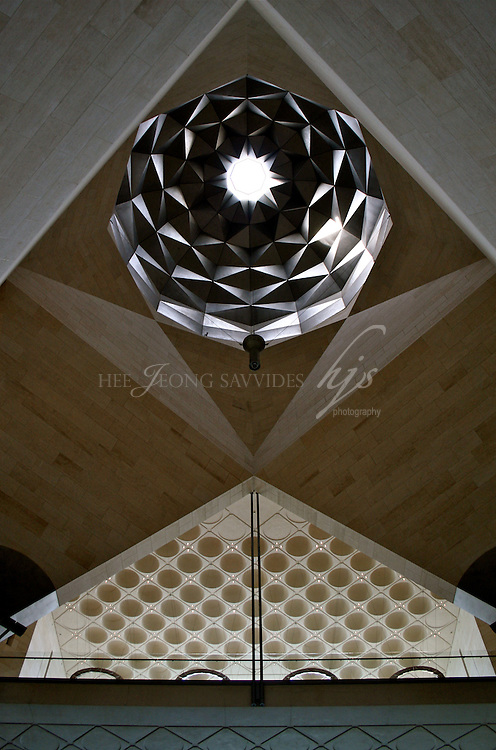 Looking up the ceiling, inside of the Museum of Islamic Art, Designed by I M Pei, Doha, Qatar   Dec 08