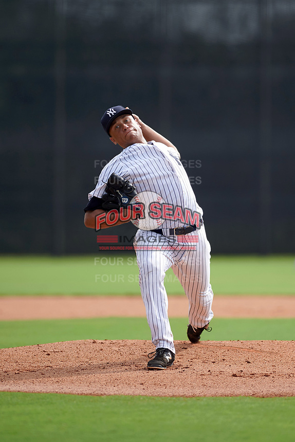 GCL Yankees East starting pitcher Tony Hernandez (26) delivers a pitch during the first game of a doubleheader against the GCL Yankees West on July 19, 2017 at the Yankees Minor League Complex in Tampa, Florida.  GCL Yankees West defeated the GCL Yankees East 11-2.  (Mike Janes/Four Seam Images)