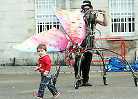 10/09/'10 16 month old Sebastian Hopkins from Naas  pictured with a Macnas Butterfly  puppet at The National Museum of Ireland, Collins Barracks this afternoon as they prepare for the Saturday opening spetacular Absolut Fringe 16th Annual Fringe Festival. The free show opens tomorrow night at Collins Barracks at 8pm and runs until the 26th Sept..Picture Colin Keegan, Collins, Dublin.