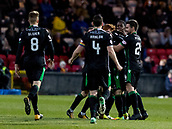 2nd December 2017, Firhill Stadium, Glasgow, Scotland; Scottish Premiership football, Partick Thistle versus Hibernian; The Hibs players celebrate their opening goal an own goal by Adam Barton