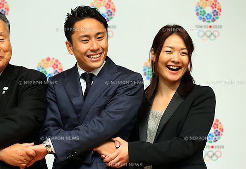 (L to R) Yuki Ota, Mami Sato, <br /> September10, 2013  : <br /> International Olympic Committee (IOC) session return home press conference <br /> in Shinjuku, Tokyo, Japan. <br /> (Photo by Daiju Kitamura/AFLO SPORT)