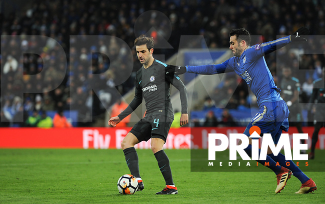 Cesc Fabregas of Chelsea & Vicente Iborra of Leicester City  during the FA Cup QF match between Leicester City and Chelsea at the King Power Stadium, Leicester, England on 18 March 2018. Photo by Stephen Buckley / PRiME Media Images.