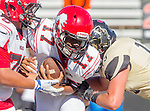 Palos Verdes, CA 10/09/15 - Travian Mcgee (Morningside #17), \m76\ and AJ Seymour (Peninsula #13) in action during the Morningside - Peninsula varsity football game.  Morning side defeated Peninsula 24-21.