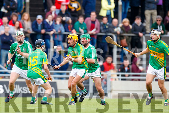 Mikey Boyle Ballyduff in action against John Griffin Lixnaw in the Senior County Hurling Final in Austin Stack Park on Sunday