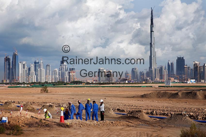 United Arab Emirates, Dubai: Development near Nad Al Sheba showing city skyline and the Burj Dubai