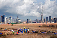 United Arab Emirates, Dubai: Development near Nad Al Sheba showing city skyline and the Burj Dubai