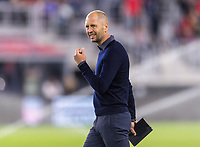 WASHINGTON, DC - OCTOBER 11: Gregg Berhalter of the United States walks off the field during a game between Cuba and USMNT at Audi Field on October 11, 2019 in Washington, DC.