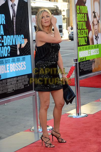 Jennifer Aniston.'Horrible Bosses' premiere at Grauman's Chinese Theatre, Los Angeles, California, USA 30th June 2011.full length black dress sandals.CAP/ADM/TW.©Tonya Wise/AdMedia/Capital Pictures.