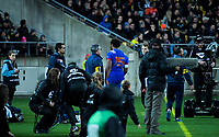 France's Benjamin Fall walks to the bench after being sent off during the Steinlager Series international rugby match between the New Zealand All Blacks and France at Westpac Stadium in Wellington, New Zealand on Saturday, 16 June 2018. Photo: Dave Lintott / lintottphoto.co.nz