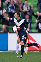 MELBOURNE, AUSTRALIA - SEPTEMBER 12, 2010: Tom Pondeljak from the Victory celebrates his goal in Round 6 of the 2010 A-League between the Melbourne Victory and Brisbane Roar at AAMI Park on September 12, 2010 in Melbourne, Australia. (Photo by Sydney Low / Asterisk Images)
