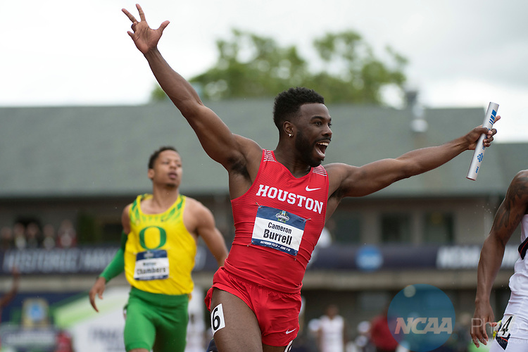 EUGENE, OR - JUNE 09: Cameron Burrell of the University of Houston celebrates after winning the 4x100 meter relay during the Division I Men's Outdoor Track & Field Championship held at Hayward Field on June 9, 2017 in Eugene, Oregon. (Photo by Jamie Schwaberow/NCAA Photos via Getty Images)