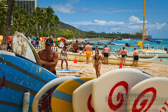 Surfboards at Kuhio Beach Park, Waikiki Beach, Honolulu, Oahu, Hawaii