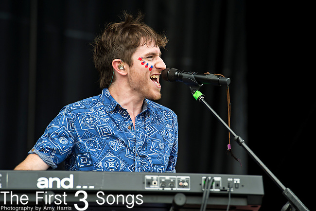 Nicholas Petricca of Walk the Moon performs during the 2013 Budweiser Made in America Festival in Philadelphia, Pennsylvania.