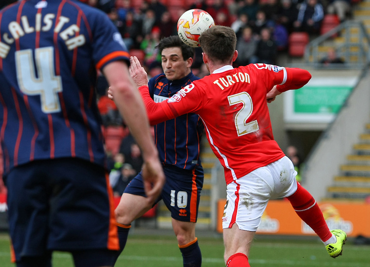 Blackpool's Jack Redshaw scores his sides first goal  <br /> <br /> Photographer Alex Dodd/CameraSport<br /> <br /> Football - The Football League Sky Bet League One - Crewe Alexandra v Blackpool - Saturday 19th March 2016 - Alexandra Stadium - Crewe    <br /> <br /> &copy; CameraSport - 43 Linden Ave. Countesthorpe. Leicester. England. LE8 5PG - Tel: +44 (0) 116 277 4147 - admin@camerasport.com - www.camerasport.com