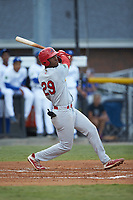 Todd Lott (29) of the Johnson City Cardinals follows through on his swing against the Burlington Royals at Burlington Athletic Stadium on September 4, 2019 in Burlington, North Carolina. The Cardinals defeated the Royals 8-6 to win the 2019 Appalachian League Championship. (Brian Westerholt/Four Seam Images)