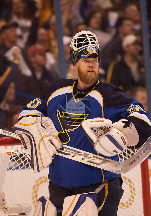 April 19 2009            The St. Louis Blues hosted the Vancouver Canucks in the third playoff game between the two teams on Sunday April 19, 2009 at the Scottrade Center in downtown St. Louis, MO.  The Blues entered the game down 2-0 in the best of seven series.  ..            *******EDITORIAL USE ONLY*******