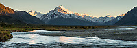 Sunrise over Tasman River flats with Aoraki, Mt. Cook, Aoraki, Mt. Cook National Park, UNESCO World Heritage Area, Mackenzie Country, New Zealand, NZ