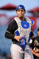 Omaha Storm Chasers catcher Francisco Pena (26) during a game against the Nashville Sounds on May 19, 2014 at Herschel Greer Stadium in Nashville, Tennessee.  Nashville defeated Omaha 5-4.  (Mike Janes/Four Seam Images)
