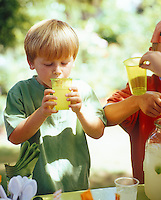 Two boys drinking lemonade at an outdoor summer party