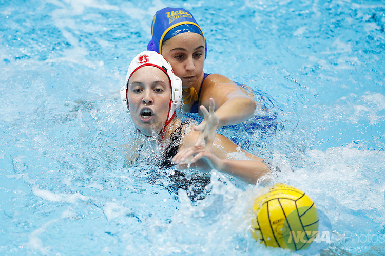 INDIANAPOLIS, IN - MAY 14: Kat Klass (10) of Stanford University in action against Maddie Musselman (7) of UCLA during the Division I Women's Water Polo Championship held at the IU Natatorium-IUPUI Campus on May 14, 2017 in Indianapolis, Indiana. (Photo by Joe Robbins/NCAA Photos/NCAA Photos via Getty Images)