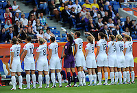 Players of team USA celebtrate after scoring 1:0 during the FIFA Women's World Cup at the FIFA Stadium in Sinsheim, Germany on July 2nd, 2011.