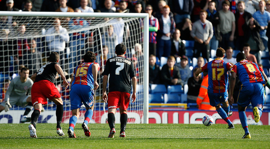 Glenn Murray (2nd R) scores Crystal Palace's first goal from the penalty spot..Football - npower Football League Championship - Saturday 22nd September 2012 - Crystal Palace v Cardiff City - Selhurst Park - London..?