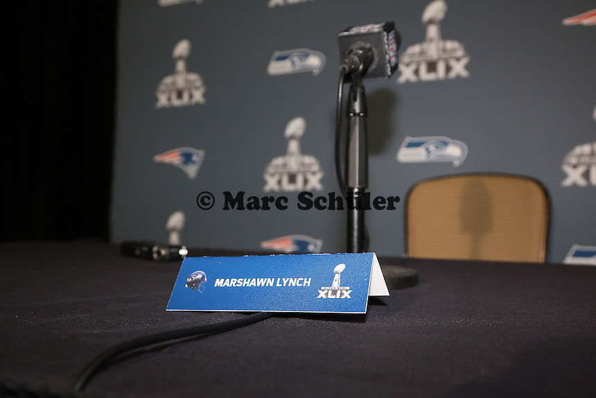 Verwaister Interviewplatz von Marshawn Lynch (Seahawks)- Super Bowl XLIX Seattle Seahakws Team-PK, Arizona Grand Hotel