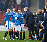 David Weir getting the message to the players after Rangers are reduced to 10 men