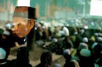CHINA. Beijing. An old man in a mosque in the Muslim district of 'Niu Jie'. 2005