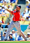 24 July 2011: Washington Nationals infielder Danny Espinosa in action against the Los Angeles Dodgers at Dodger Stadium in Los Angeles, California. The Dodgers defeated the Nationals 3-1 to take the rubber match of their three game series. Mandatory Credit: Ed Wolfstein Photo