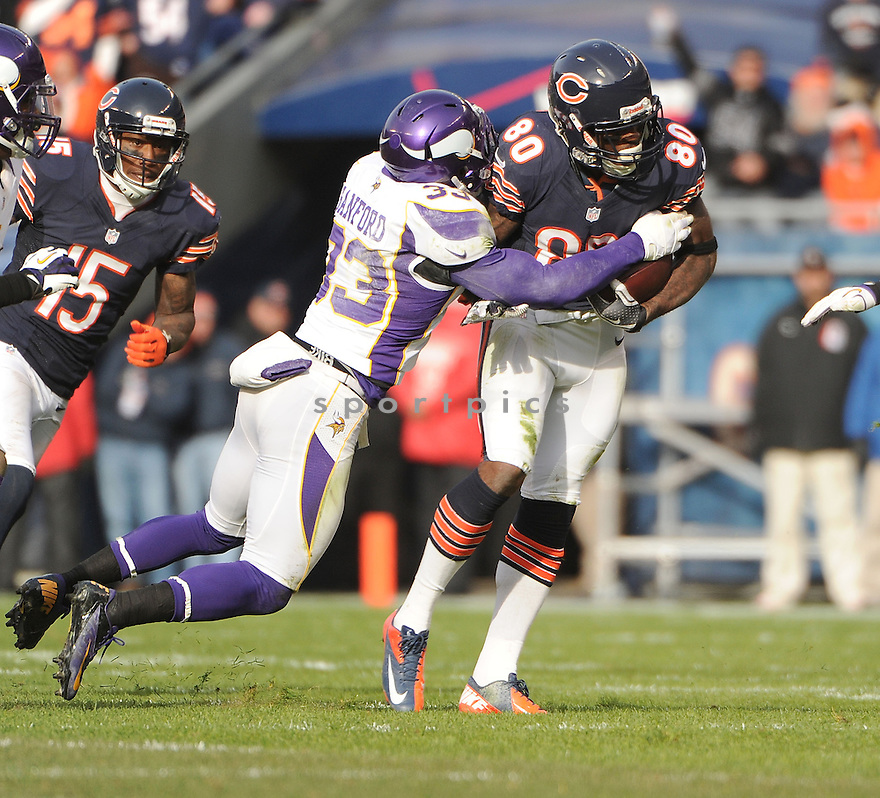 Chicago Bears Earl Bennett (80) in action during a game against the Vikings on November 25, 2012 at Soldier Field in Chicago, IL. The Bears beat the Vikings 28-10.