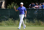 Rory McIlroy (NIR),<br /> June 15, 2013 - Golf :<br /> Rory McIlroy of Northern Ireland waves to the crowd on the green at 7th hole during the third round of the U.S. Open Championship at the Merion Golf Club, East course in Haverford Township, Delaware Country, Pennsylvania. (Photo by Koji Aoki/AFLO SPORT) [0008]
