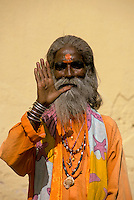 India, Rajasthan, Jaipur, holy man portrait