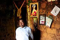 TANZANIA Bukoba, village Igombe, ERENEUS EMANUELS, 18 years, has HIV positive, he is suffering from side effects of aids medication, skin disease / TANSANIA Bukoba, Familie von Frau ASTERIA EVALISTA im Dorf Igombe, ihr Enkel ERENEUS EMANUELS (18 Jahre) ist an HIV erkrankt und hat durch die Medikamente schwere Nebenwirkungen wie Hautausschlaege