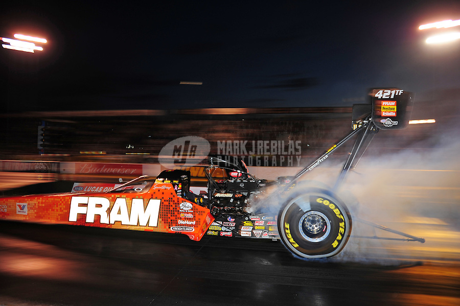 Sept. 30, 2011; Mohnton, PA, USA: NHRA top fuel dragster driver Spencer Massey during qualifying for the Auto Plus Nationals at Maple Grove Raceway. Mandatory Credit: Mark J. Rebilas-