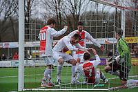 VOETBAL: EMMELOORD: Sportpark Ervenbos, 18-02-2012, Flevo Boys 1 - Drachtster Boys 1, Flevo Boys vieren doelpunt Arjen Spaan (4-1), Keeper Eelke Kooistra (DB), Eindstand 6-2, ©foto: Martin de Jong