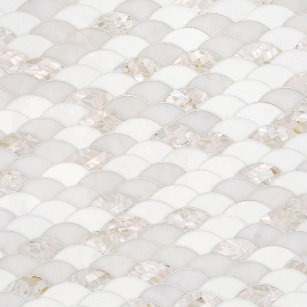Abalone, a stone waterjet cut mosaic, shown in polished Shell, Thassos, and Afyon White, is part of the Aurora™ Collection by Sara Baldwin for New Ravenna.